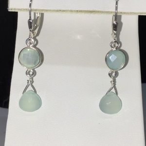 Sterling Silver Faceted Chalcedony Drop Leverbacks
